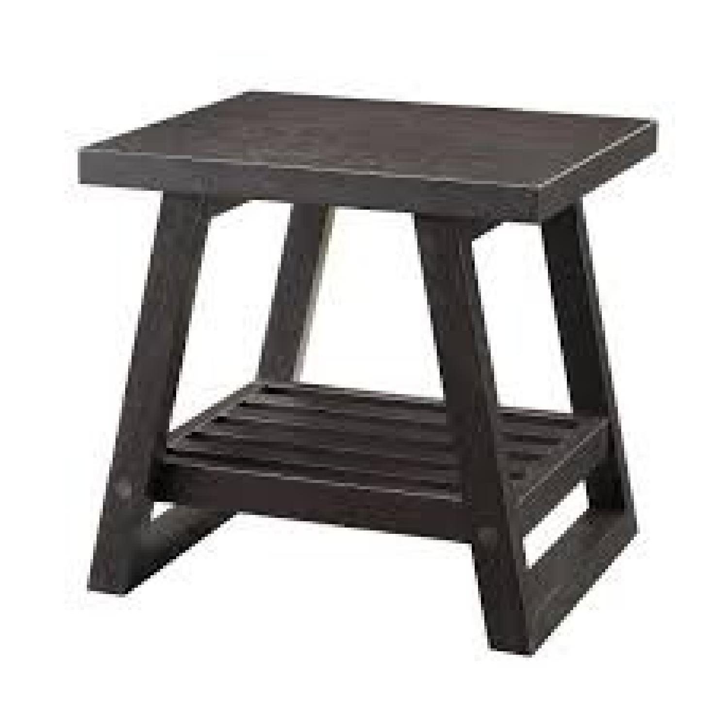 Cappuccino End Table with Slatted Bottom Shelf-1