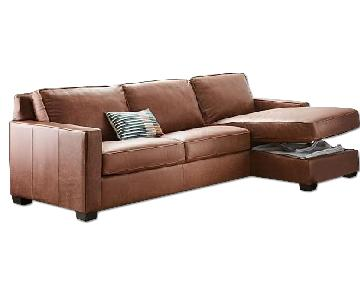 Henry Sectional w/ Storage Chaise in Tobacco Leather