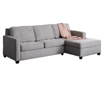 West Elm Henry 2-Seater Sectional in Gravel Twill