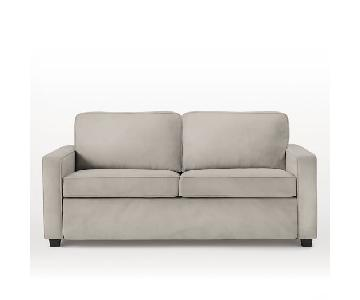 West Elm Henry Deluxe Sleeper in Silver Poly Lustre Velvet