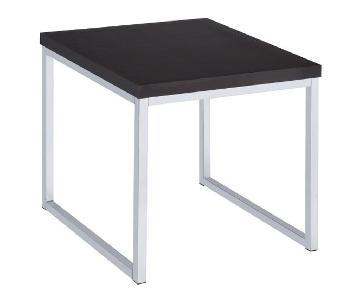 Cappuccino Top Chrome U-Shaped Leg End Table