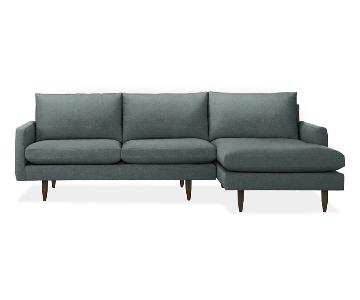Room & Board Jasper Right-Arm Chaise Sectional in Tepic Haze