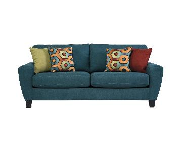 Modern Blue Two-Seater Sofa
