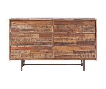 Rustic Wooden 6 Drawer Dresser