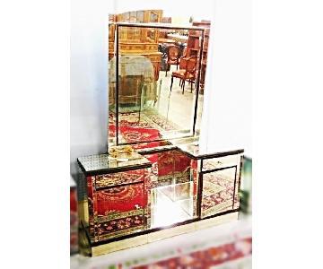 Art Deco Mid Century Modern Mirrored Dresser w/ Mirror