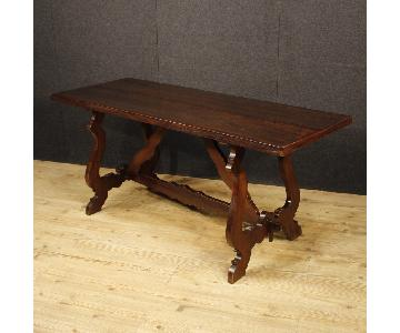 Italian Refectory Table in Walnut & Chestnut Wood