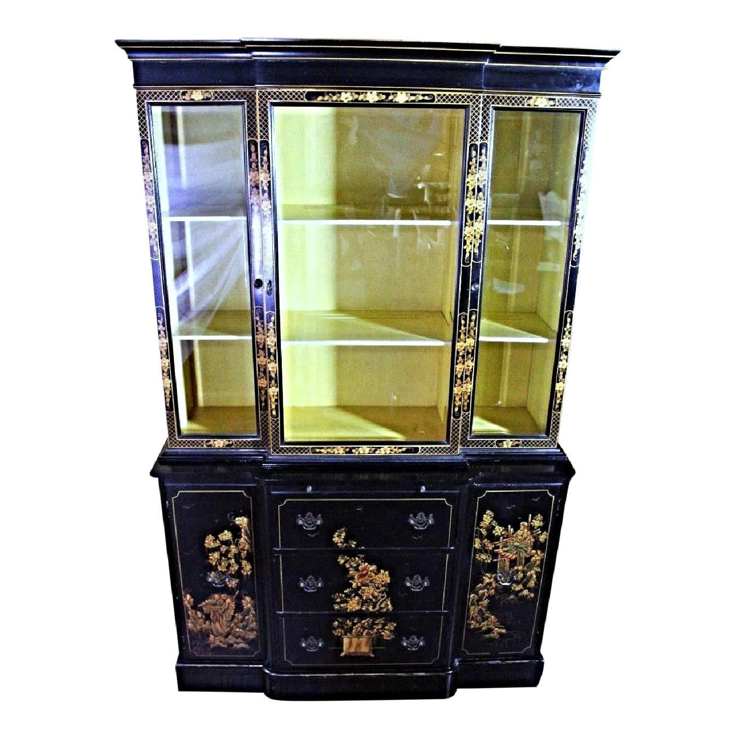 Chippendale Chinoiserie Breakfront/China Cabinet
