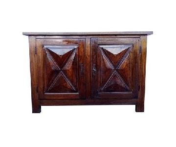Antique French Country Rustic Oak 2 Door Buffet