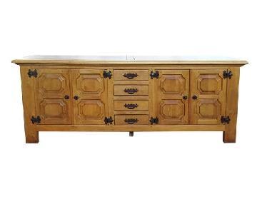 Solid Mid-Century Rustic Oak Dutch Buffet/Sideboard