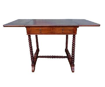 Antique French Barley Twist Drop Leaf Desk/Side Table