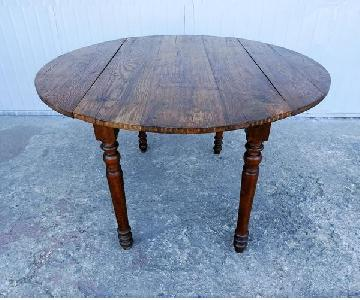 Antique French Oak Round Oval Drop Leaf Dining Table