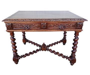 Barley Twist Jacobean Style Carved Oak Desk w/ 2 Drawers
