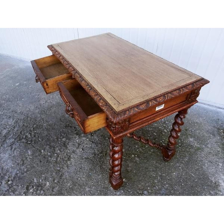 Barley Twist Jacobean Style Carved Oak Desk W 2 Aptdeco