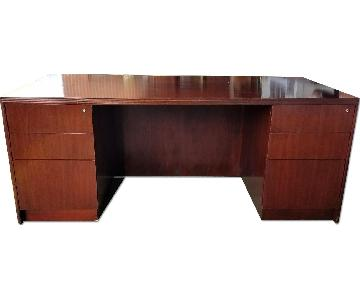 Contemporary Dark Cherry Finish Desk