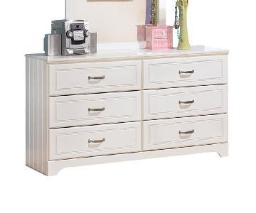 6-Drawer Detailed White Dresser