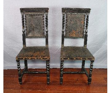 Antique 18th C Baroque Ebonized Leather Chair