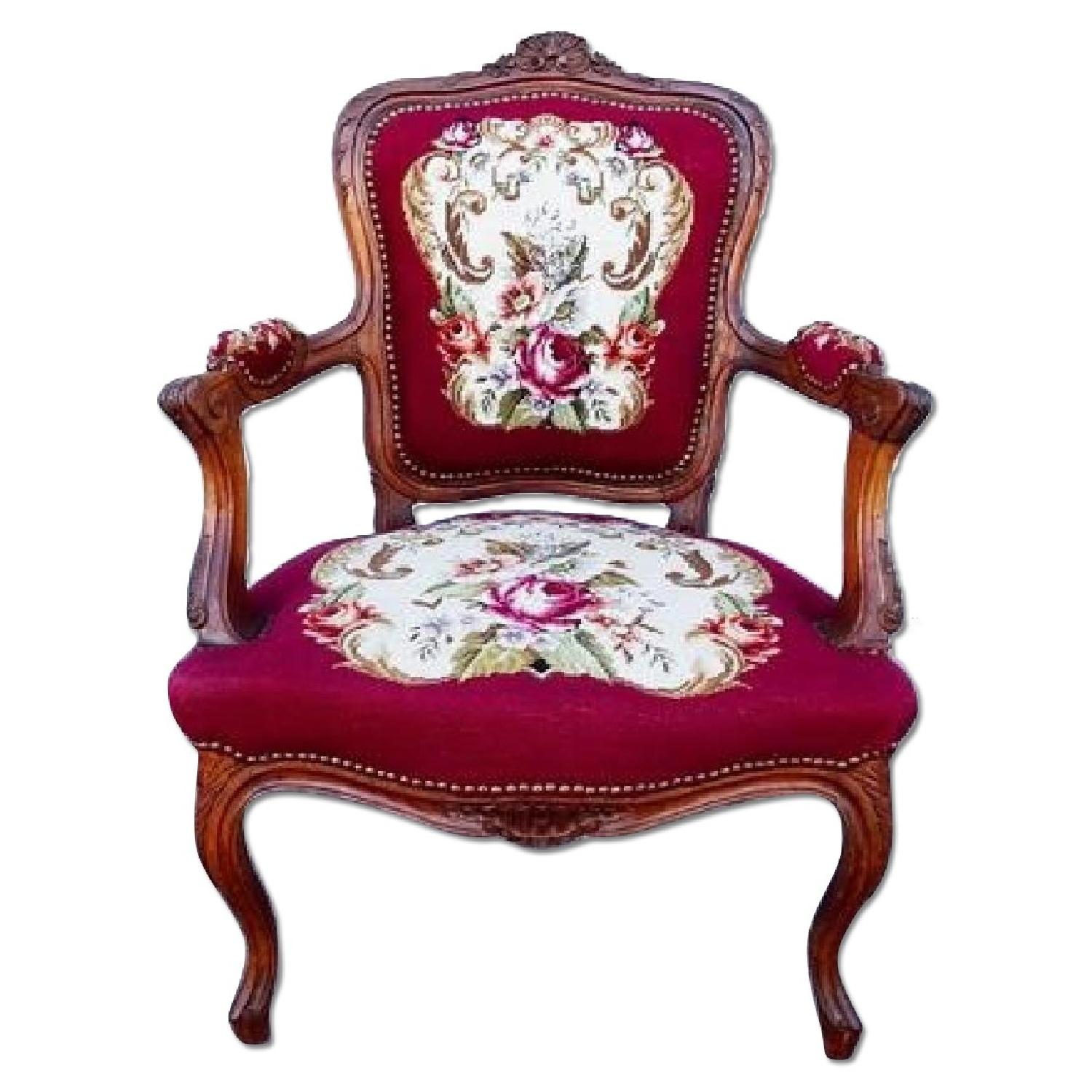 Antique Hand-Carved French Country Louis XV Rococo Chair