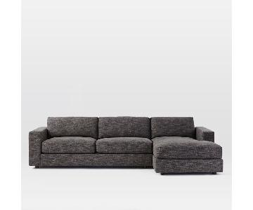 West Elm Urban Sectional in Charcoal Heathered Tweed