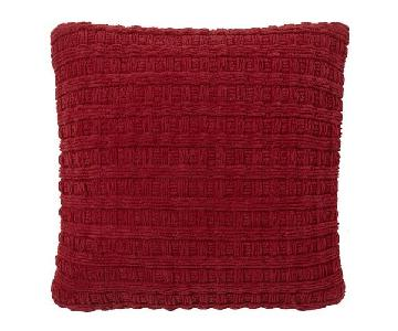 Pottery Barn Grand Chenille Pillows & Throw in Cardinal Red