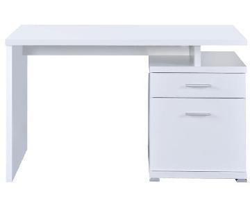 White Computer Desk w/ Cabinet