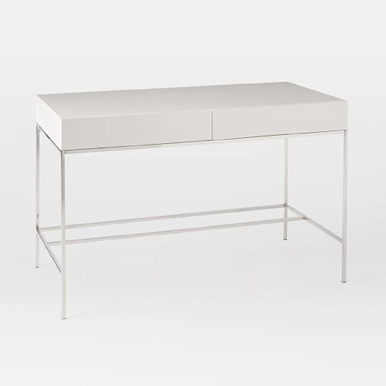 West elm white lacquer silver desk aptdeco west elm white lacquer silver desk geotapseo Gallery