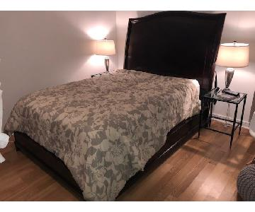 Raymour & Flanigan Dark Brown Queen Size Bed