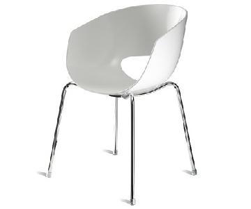 CB2 Orbit White Arm Chair