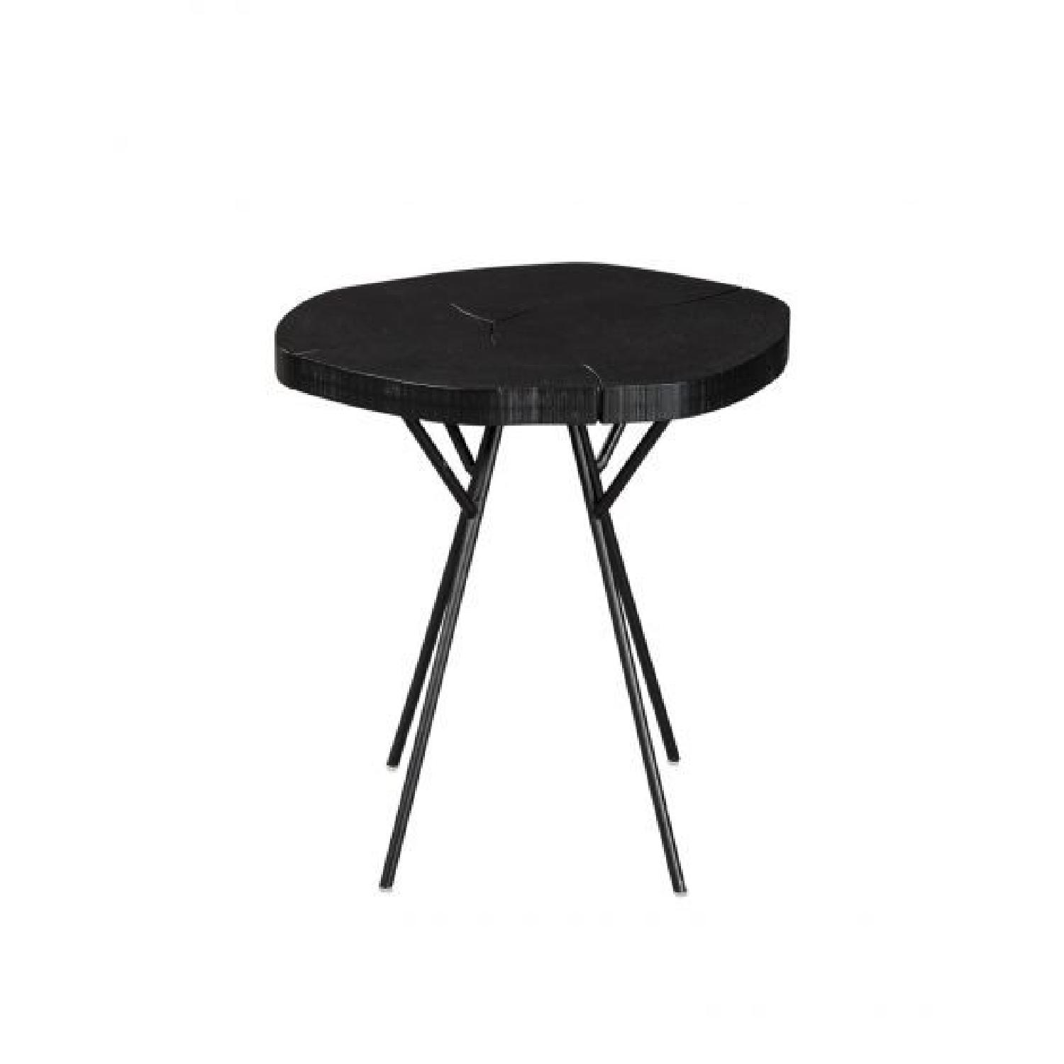 Rich Black Finish Accent Table w/ Metal Legs