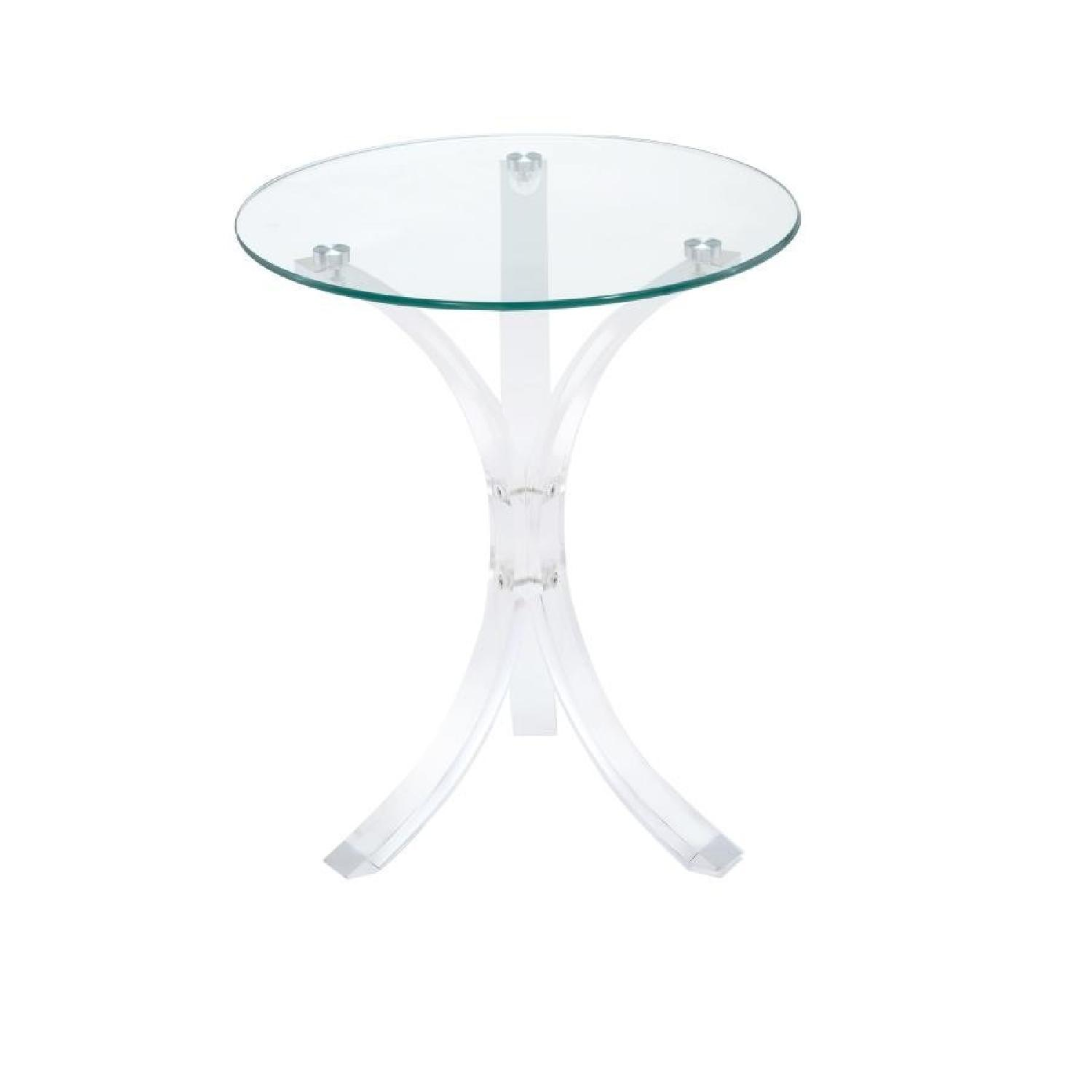Contemporary Clear Round Glass Top Accent Table