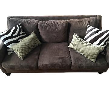 West Elm Brown Microsuede 3 Seater Sofa