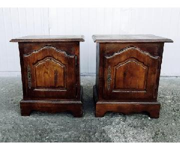 Antique Bedside Light Oak Cabinet