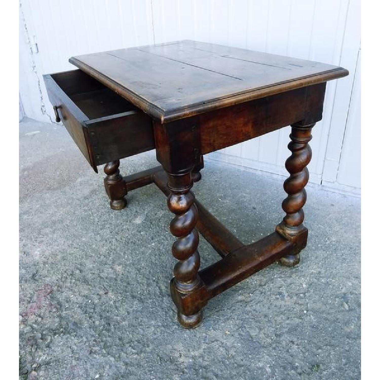 Antique Barley Twist Oak Wood H Stretcher Desk W 1 Aptdeco