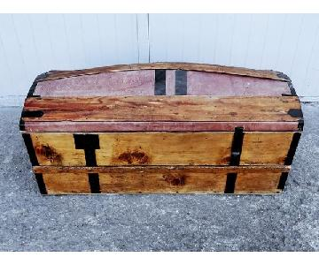 Solid French Storage Trunk w/ Leather Inserts