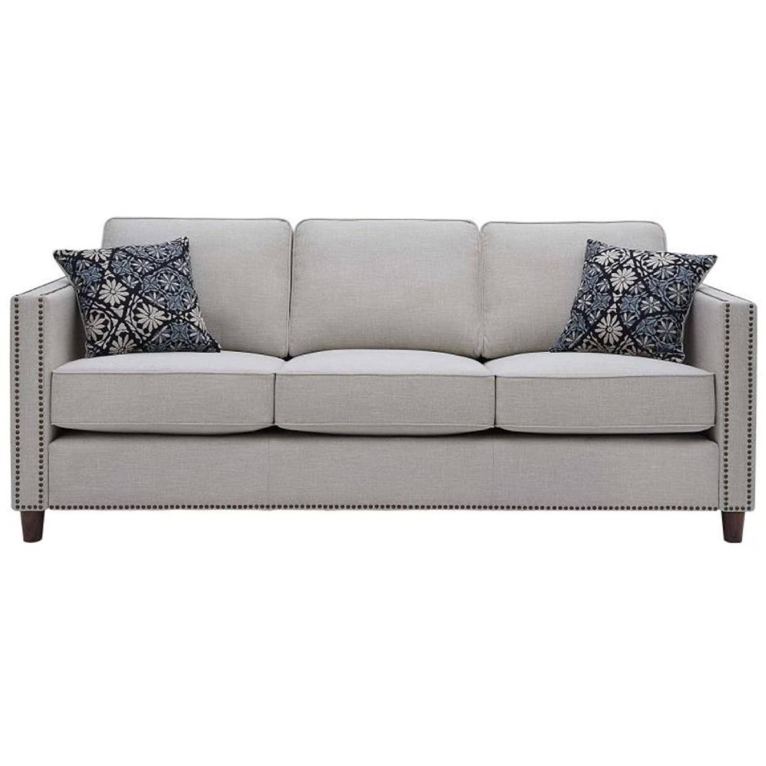 Putty Color Modern Sofa w/ Nailheads
