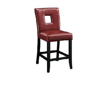 Open Back Red Upholstered Counter Height Stool