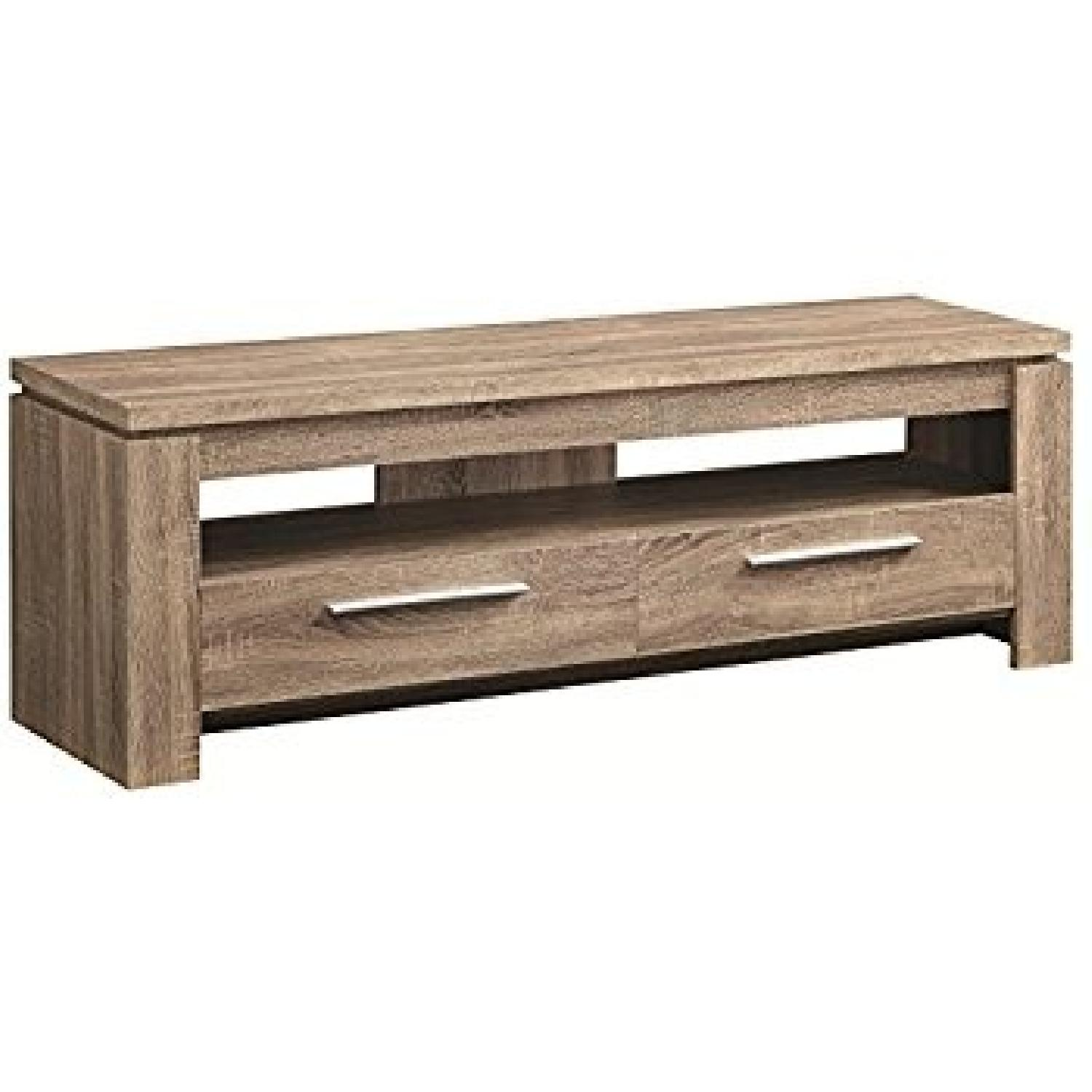 Contemporary Rustic TV Stand in Weathered Wood Finish