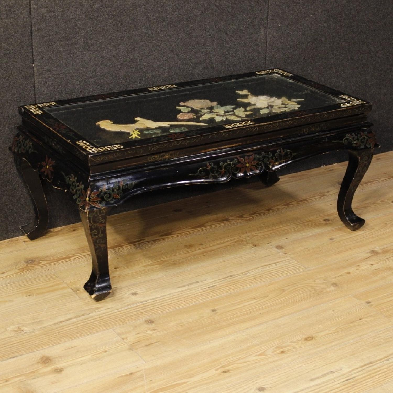 French coffee table lacquered and painted chinoiserie aptdeco french coffee table lacquered and painted chinoiserie wood 1 geotapseo Gallery
