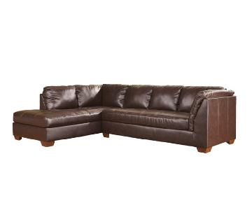 Ashley Brown Leather 2 Piece Sectional Sofa