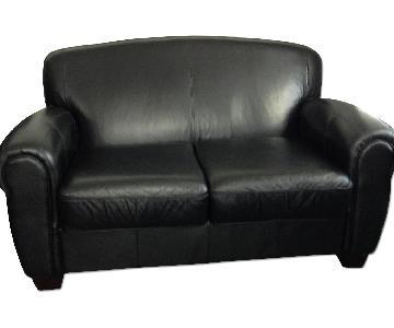 Black Leather 2-Seat Sofa