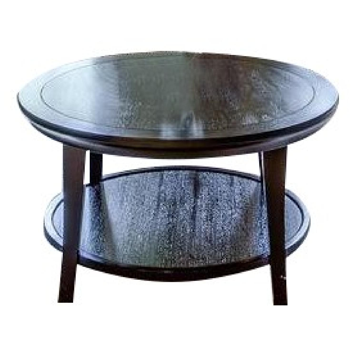 - Pottery Barn Metropolitan Round Coffee Table + 2 End Tables + 2