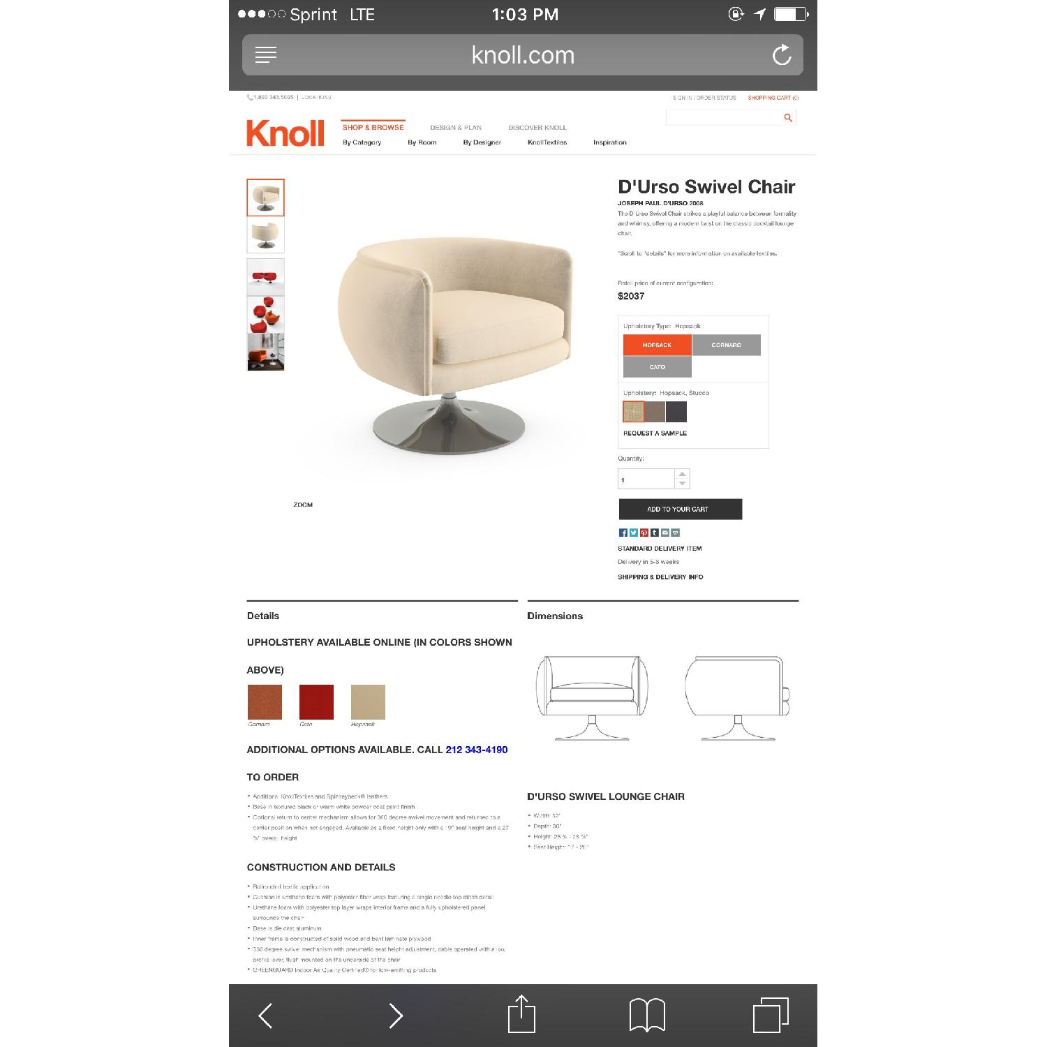 Knoll D'Urso Swivel Lounge Chair - 2 Available - image-10