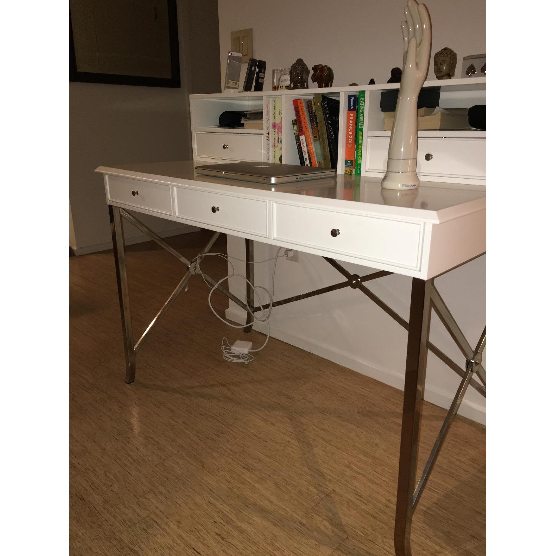 William Sonoma Home White Matte Laquer Desk - image-1
