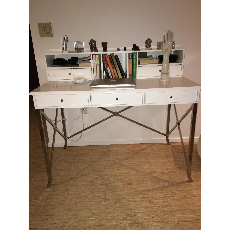 William Sonoma Home White Matte Laquer Desk - image-2