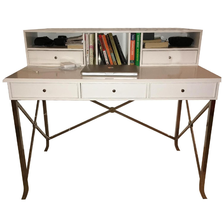 William Sonoma Home White Matte Laquer Desk - image-0