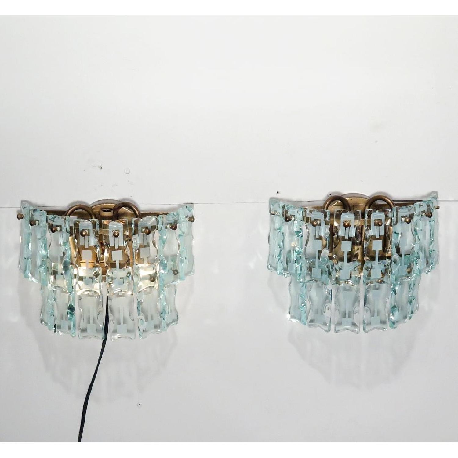 Vintage Mid-Century 3 Light Hanging Glass Bars/Sconces  - Pair - image-1