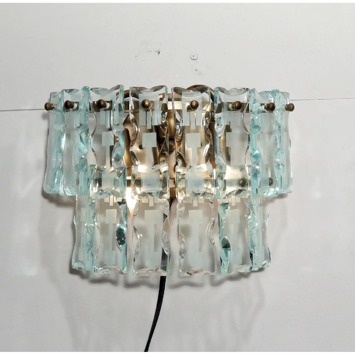 Vintage Mid-Century 3 Light Hanging Glass Bars/Sconces  - Pair - image-2