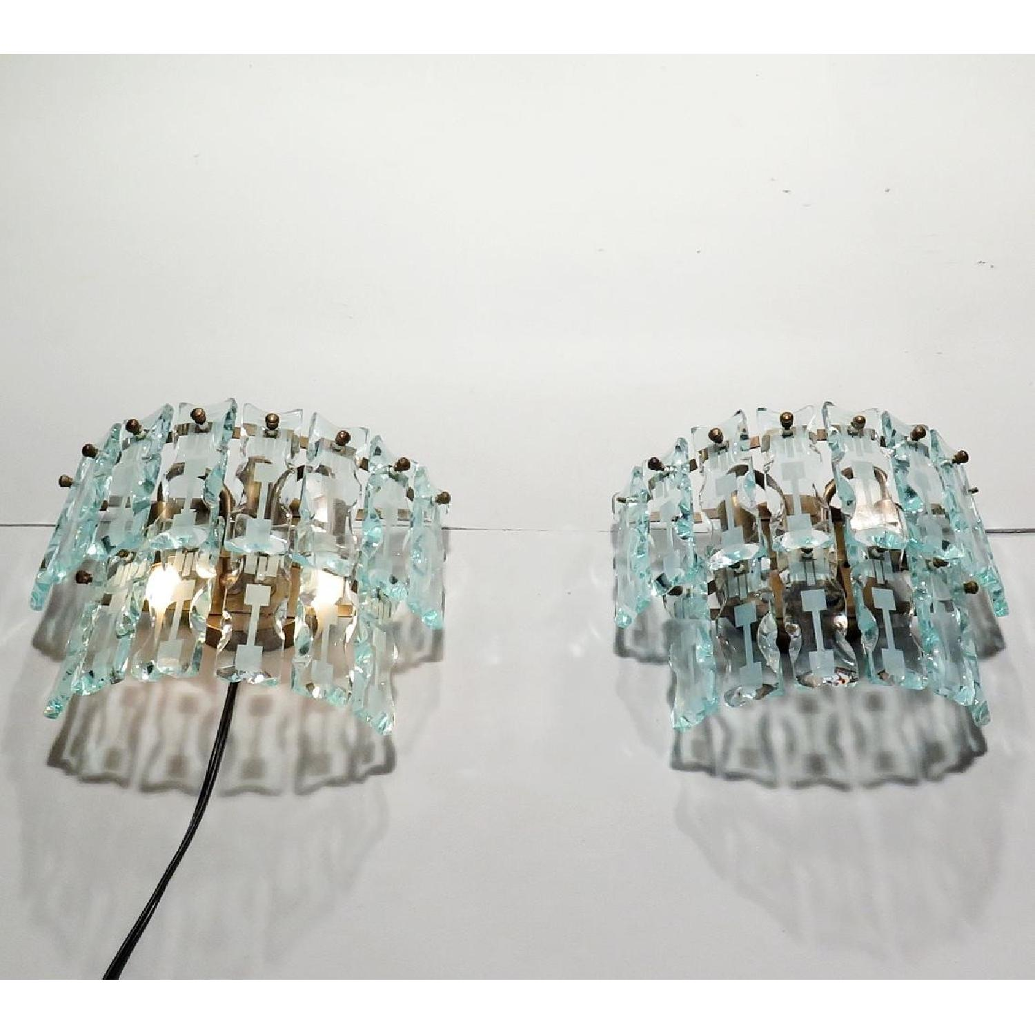 Vintage Mid-Century 3 Light Hanging Glass Bars/Sconces  - Pair - image-3