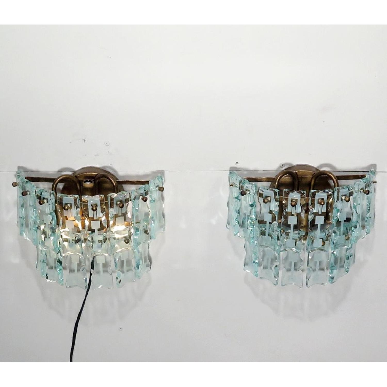 Vintage Mid-Century 3 Light Hanging Glass Bars/Sconces  - Pair - image-4