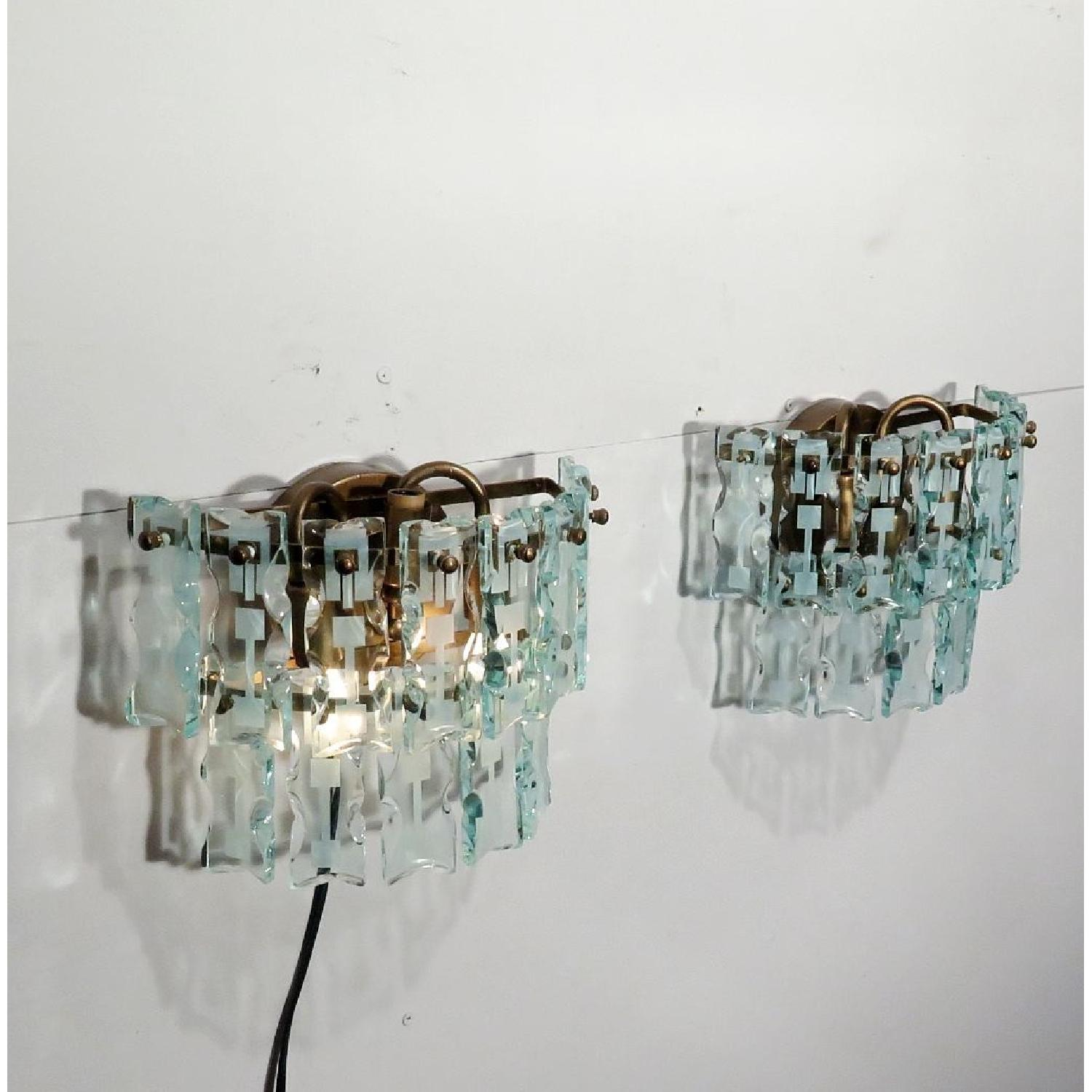Vintage Mid-Century 3 Light Hanging Glass Bars/Sconces  - Pair - image-5