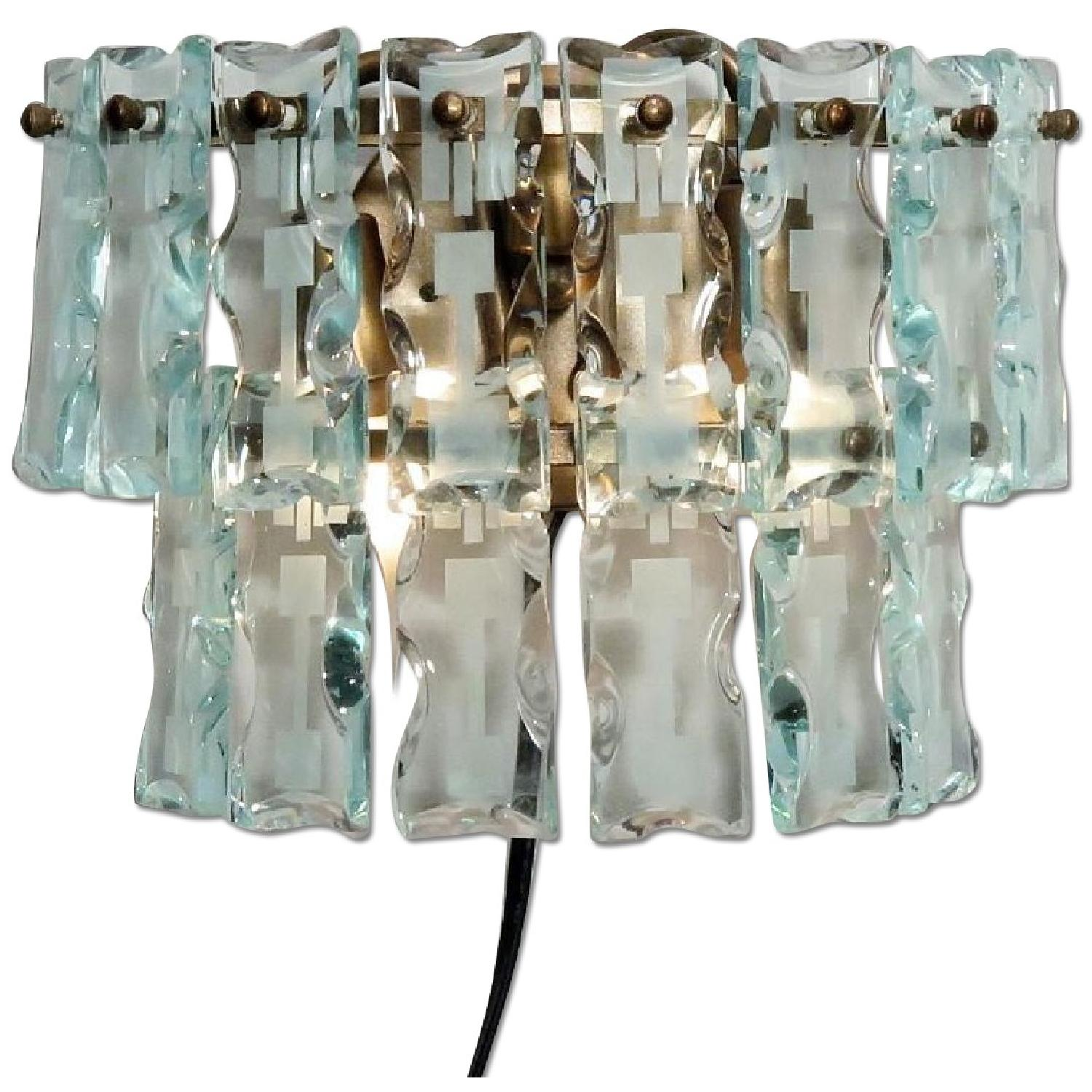 Vintage Mid-Century 3 Light Hanging Glass Bars/Sconces  - Pair - image-0